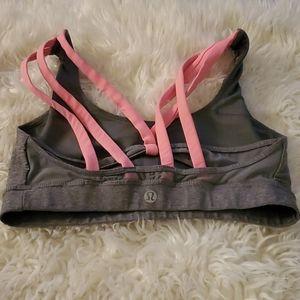 Lululemon athletica sports bra grey and pink